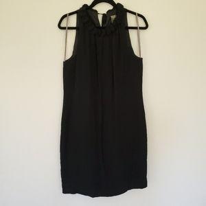 Taylor 100% silk black high collar midi dress 8